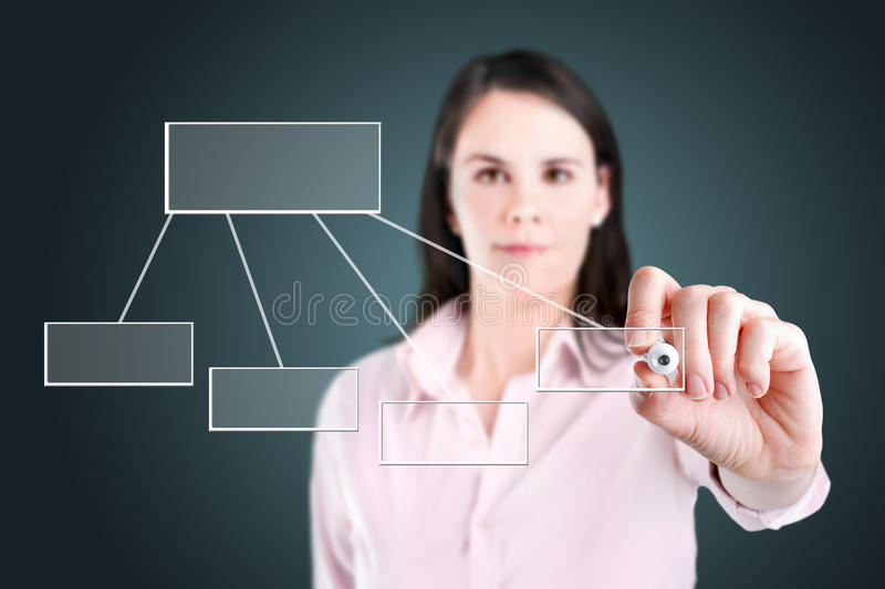 Young business woman drawing a flowchart 1. Young business woman drawing a flowchart 1 stock images