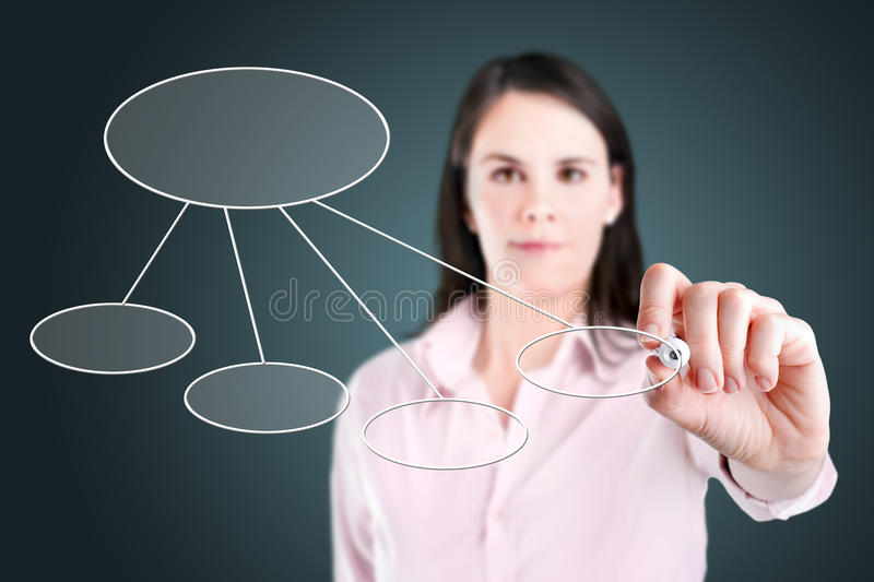 Young business woman drawing a flowchart 2. Young business woman drawing a flowchart 2 royalty free stock images