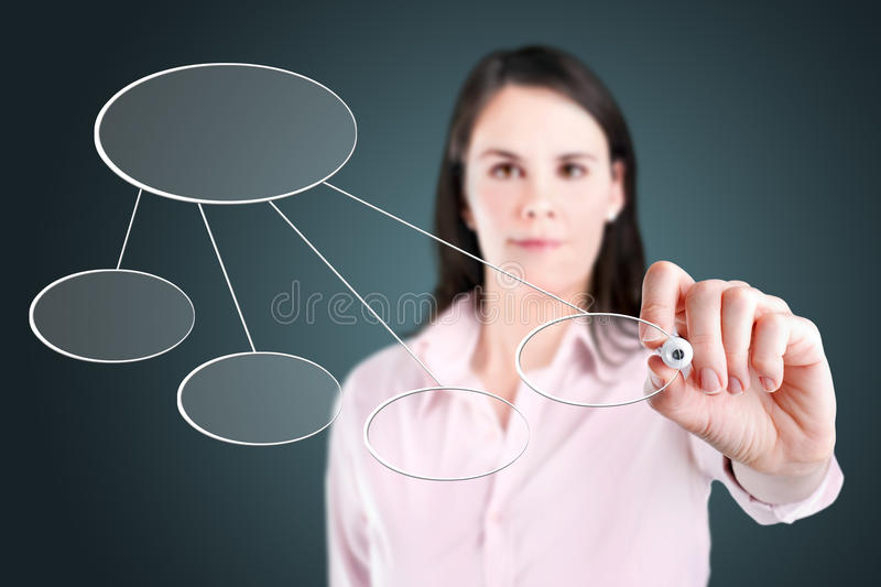 Young business woman drawing a flowchart 3. Young business woman drawing a flowchart 3 stock photo