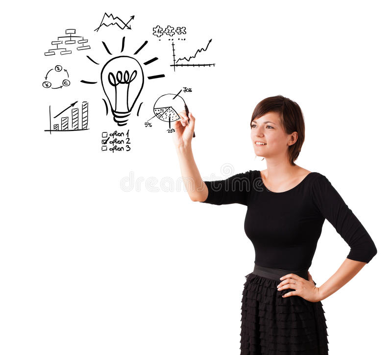 Young business woman drawing light bulb with various diagrams an. D charts on whiteboard isolated on white stock images