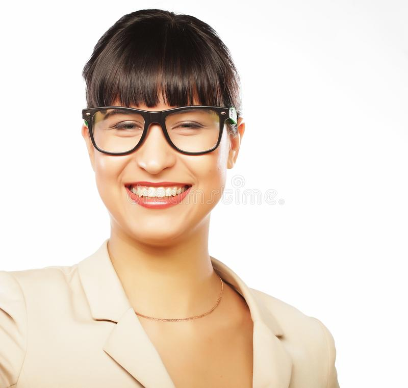 Young business woman executive laughing. Isolated on white stock photography
