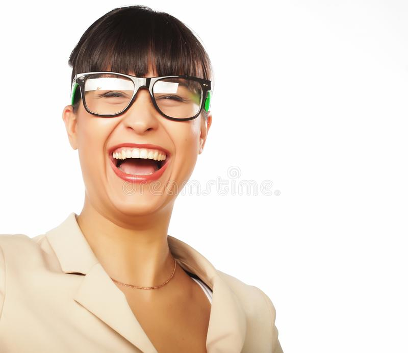 Young business woman executive laughing. Isolated on white royalty free stock photography