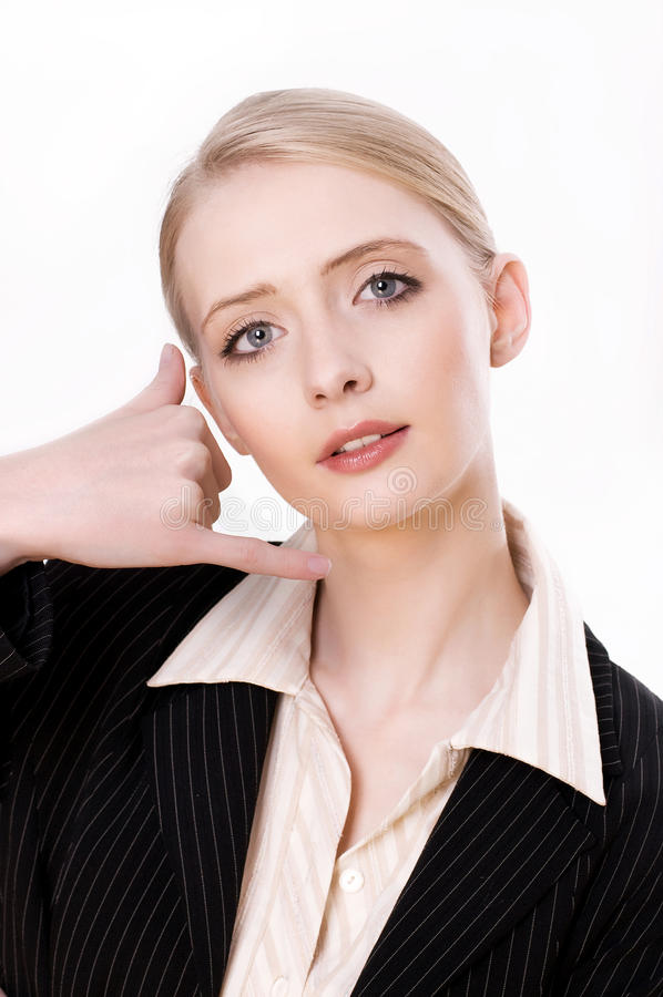 Download Young Business Woman Gesturing A Call Me Sign Stock Photo - Image: 16889660