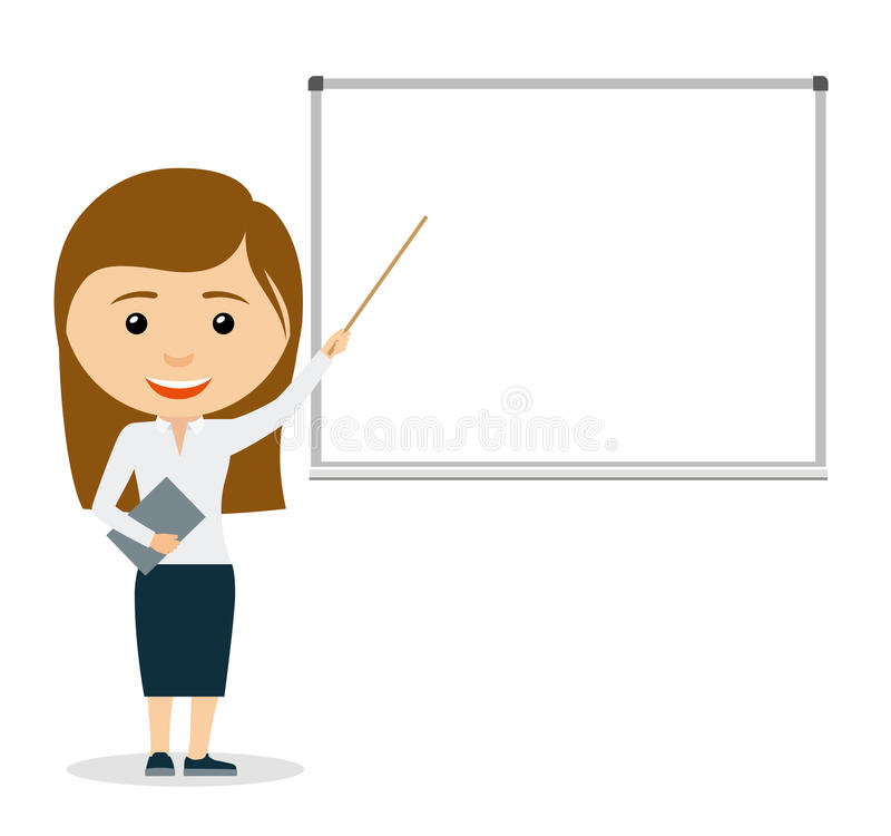 Young business woman giving a presentation royalty free illustration