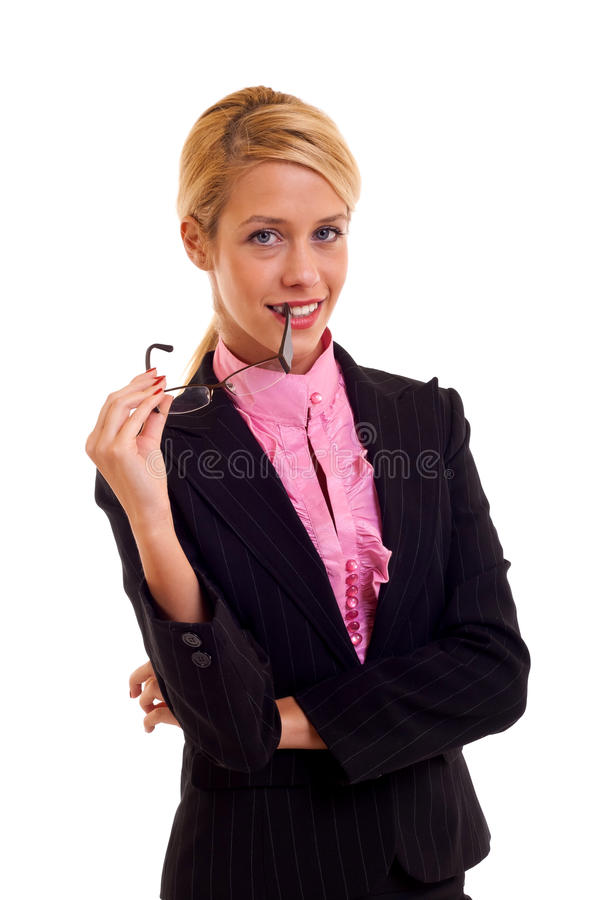 Young business woman with glasses royalty free stock image