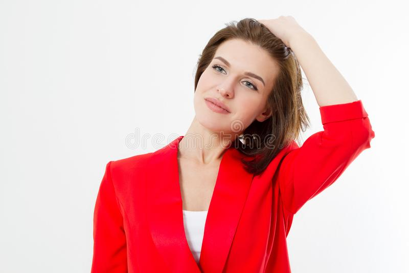 Young business woman with healthy hair and stylish fashion red clothes isolated on white background. Skin care, makeup and glamour stock images