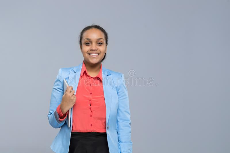 Young Business Woman Hold Tablet Computer African American Girl Happy Smile Businesswoman stock images
