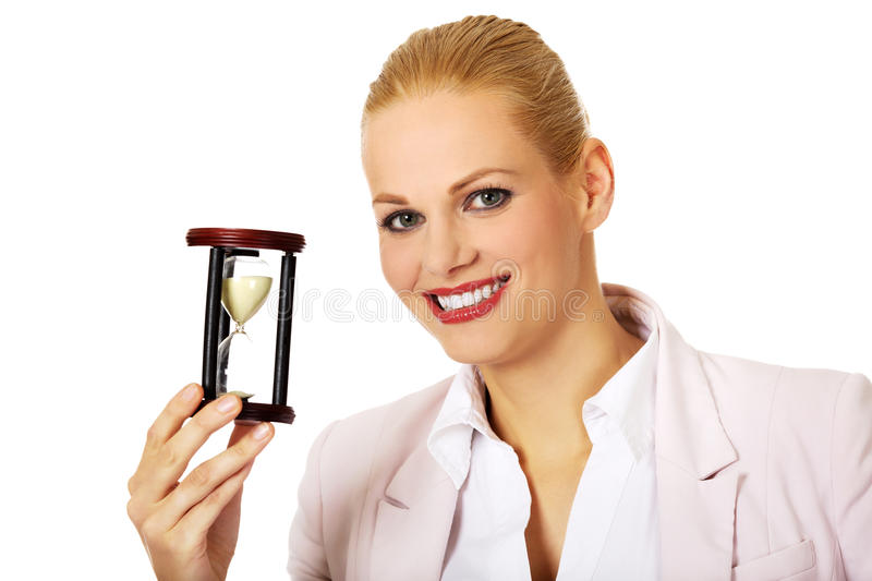 Young Woman With The Hourglass.the Concept Of Time Stock