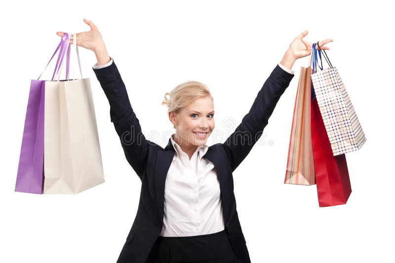 Download Young Business Woman Holding Shopping Bags Stock Photo - Image: 24842670
