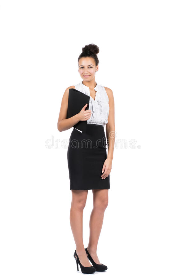 Young Business Woman Holds A File Stock Photos