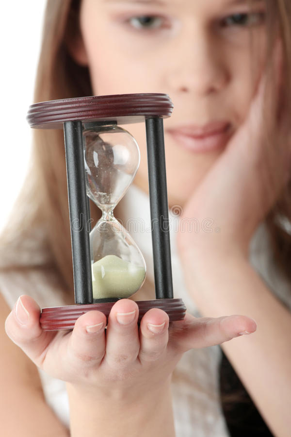 Download Young Business Woman With Hourglass Stock Photo - Image: 12363394