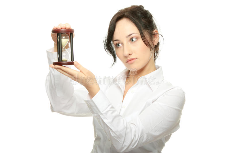 Download Young Business Woman With Hourglass Stock Photos - Image: 14278543