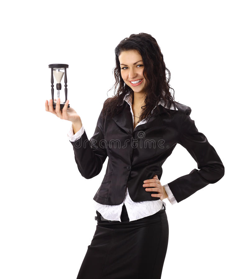 Young business woman with hourglass stock photos
