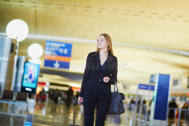 Download Young Business Woman In International Airport Stock Photo - Image: 83722838