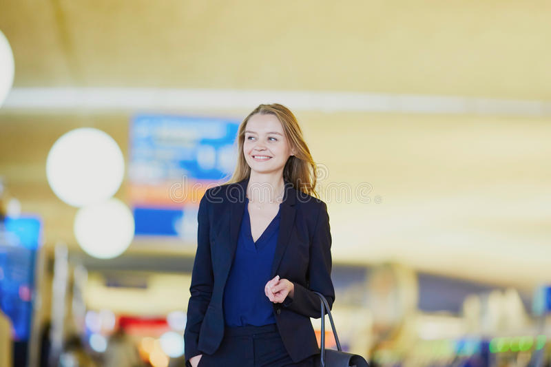 Download Young Business Woman In International Airport Stock Photo - Image: 83722983