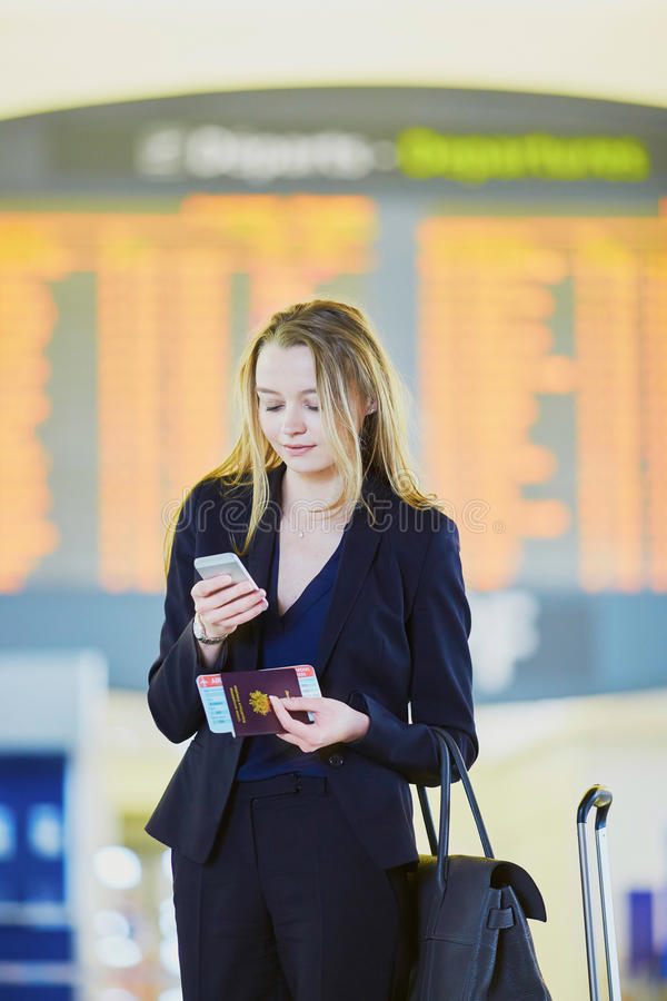 Download Young Business Woman In International Airport Stock Image - Image: 83723087