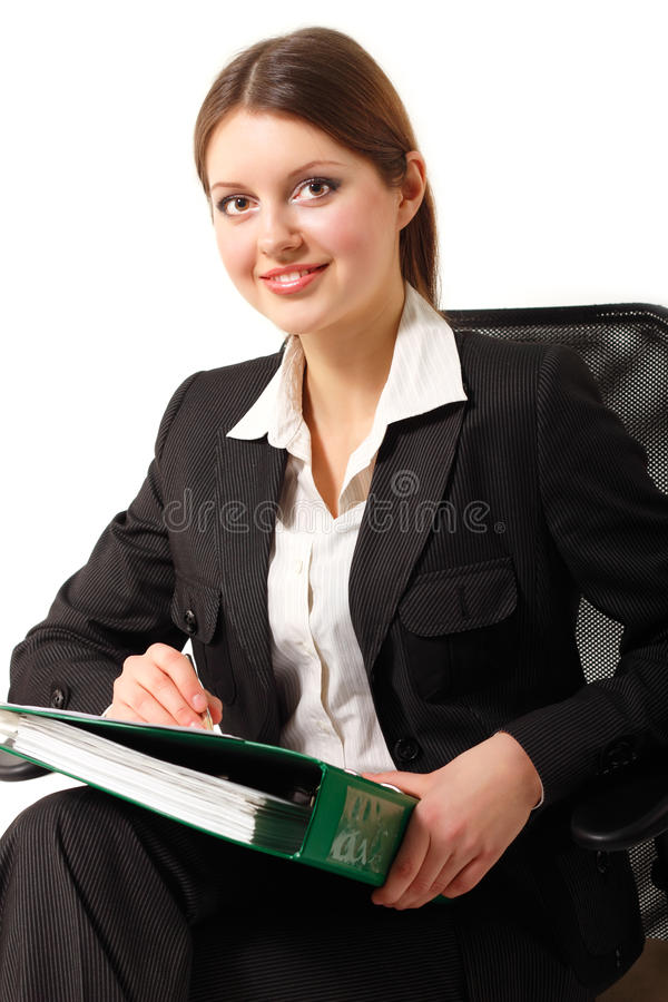 Download Young Business Woman Isolated On White Stock Photo - Image: 22562462