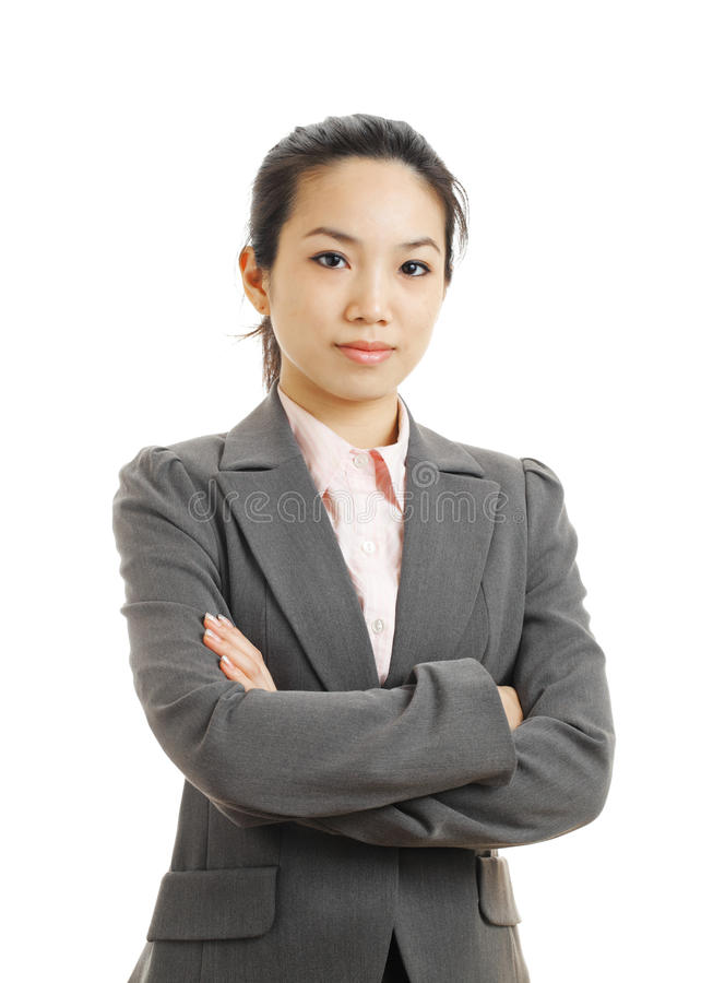 Young business woman isolated on white. Background royalty free stock images