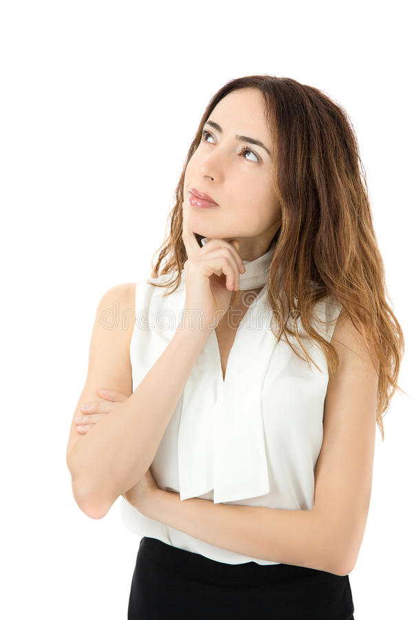 Young business woman looking to copy space royalty free stock image