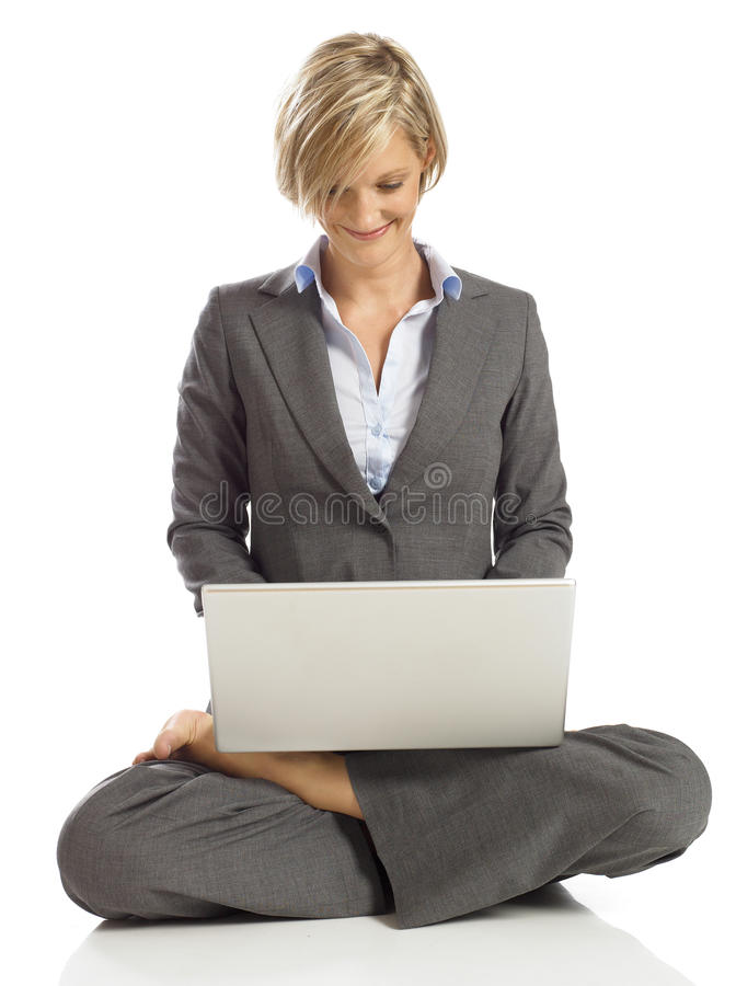 Download Young Business Woman In A Lotus Pose With Laptop Royalty Free Stock Image - Image: 16807176