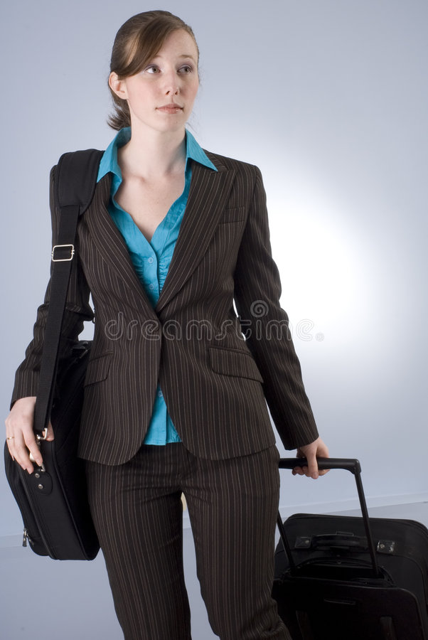 Download Young Business Woman With Luggage Stock Image - Image: 5116579