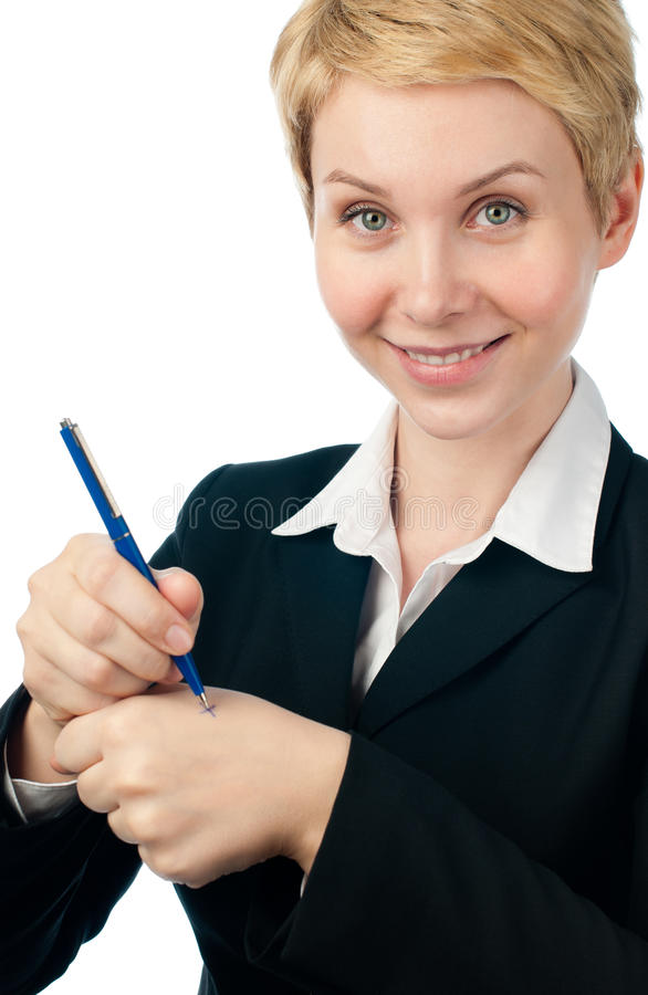 Download Young Business Woman Making Reminder Stock Image - Image: 18286525