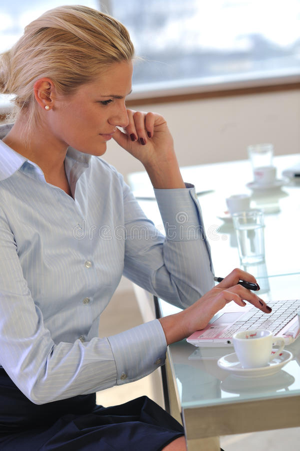 Young business woman on meeting stock photo
