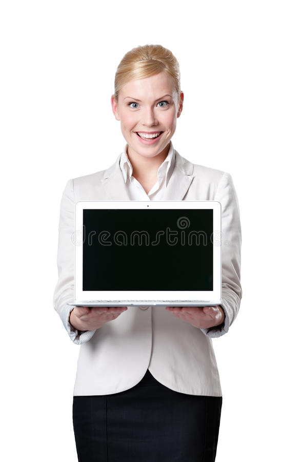 Download Young Business Woman Offers Laptop Stock Image - Image: 25071013