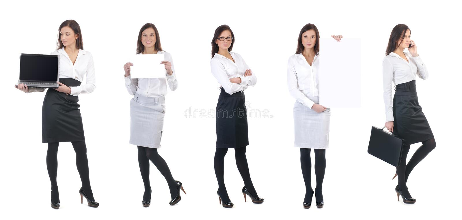 A young business woman with office items. A set of five images with a young business woman holding different office items. The collage is isolated on a white stock photography