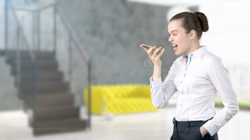 Young Business woman over interior background stock images