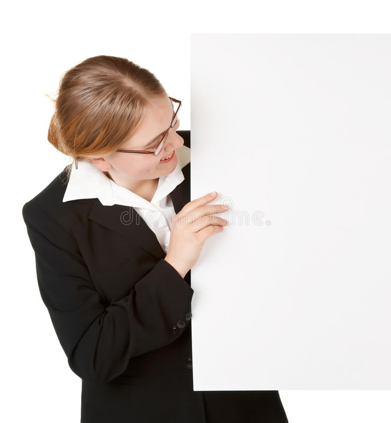 Download Young Business Woman With Placard Stock Photo - Image: 14915560