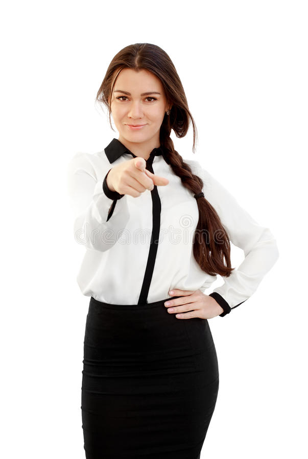 Young business woman pointing finger royalty free stock images