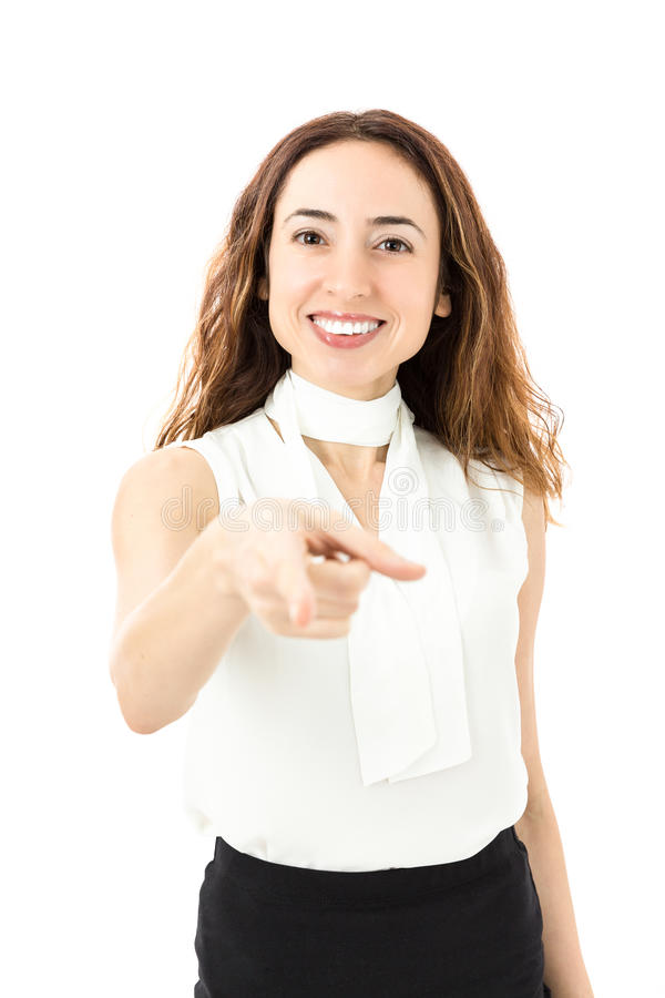 Young business woman pointing with her finger royalty free stock photos