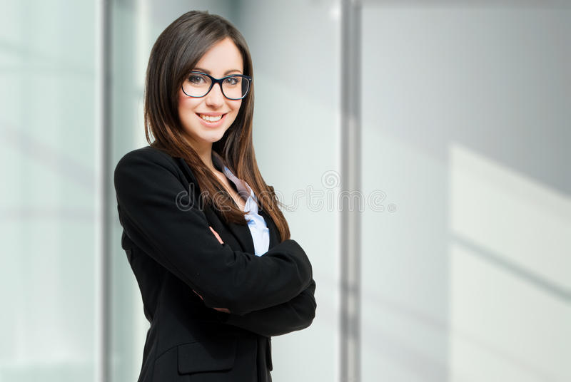 Young business woman portrait with copyspace royalty free stock image