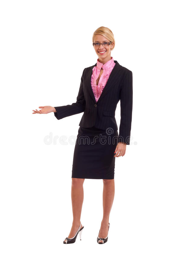 Young business woman presenting royalty free stock photography