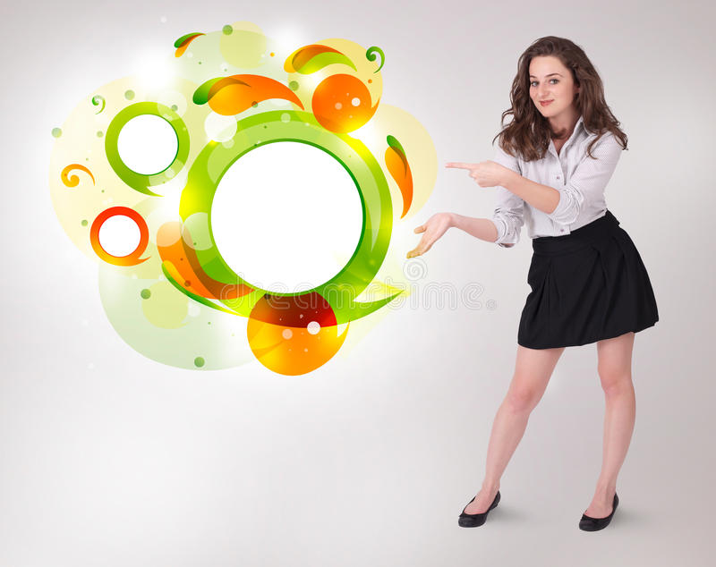Download Young Business Woman Presenting Abstract Copyspace Stock Illustration - Image: 27643569