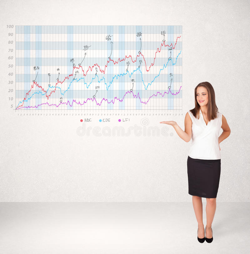 Young business woman presenting stock market diagram. Analysis stock illustration