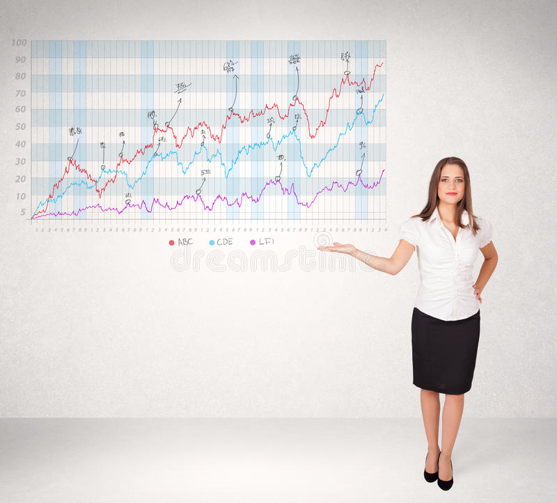 Young business woman presenting stock market diagram. Analysis vector illustration
