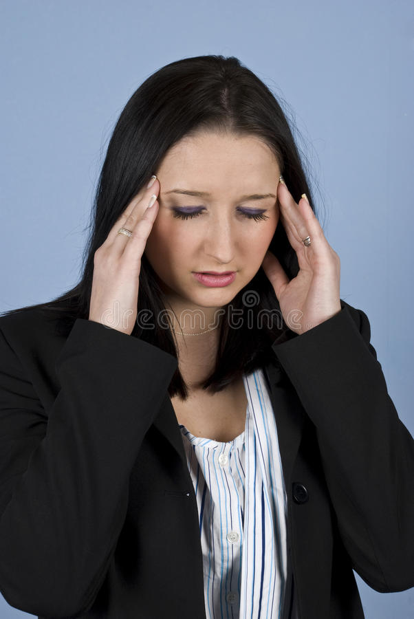 Young business woman with problems stock image