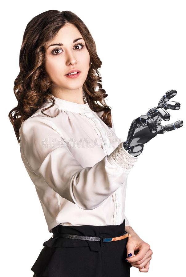 Young business woman with robot hand. 3d rendering. Young business woman with robot hand. Hand prosthesis concept. 3d rendering royalty free stock photography