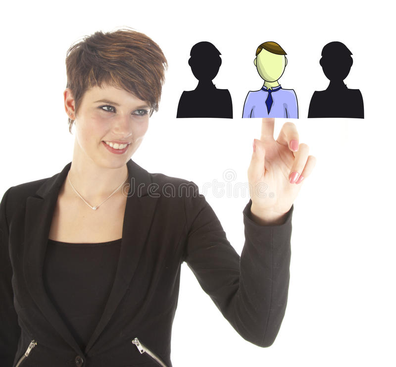Young business woman selecting virtual friends isolated royalty free stock photos
