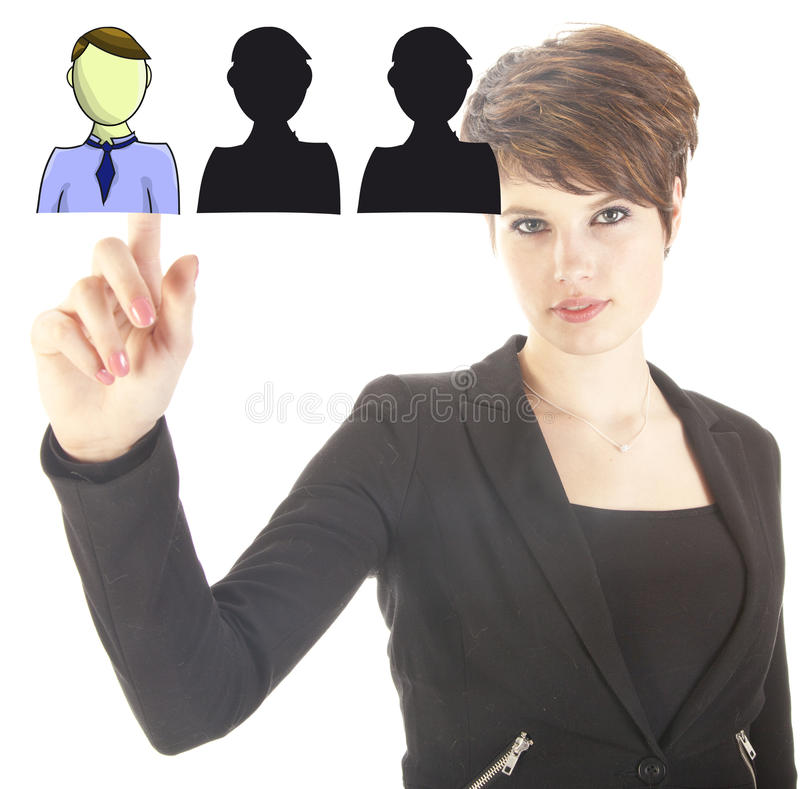 Young business woman selecting virtual friends royalty free stock image