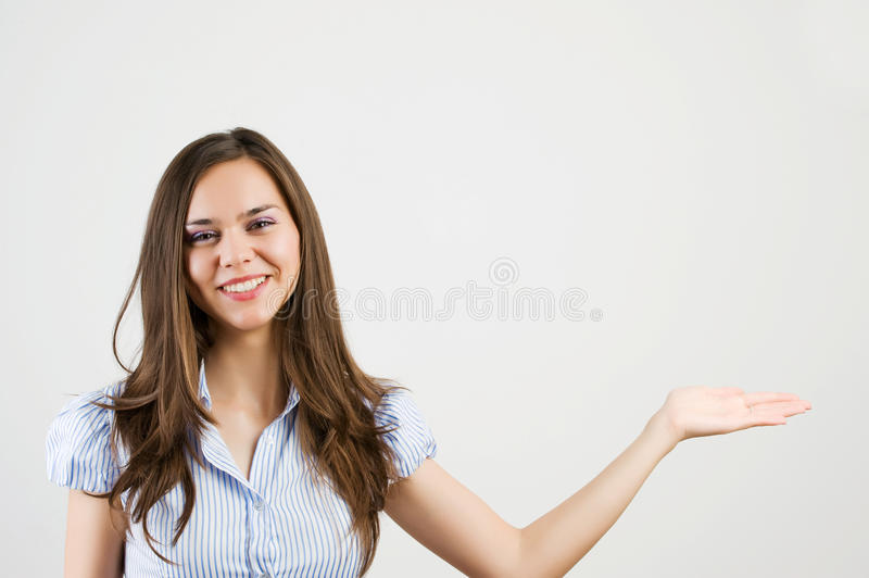 Download Young Business Woman Showing Blank Area Stock Photo - Image: 20335746