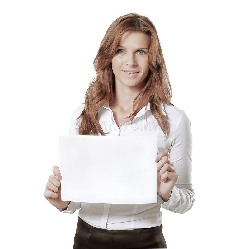 Young business woman showing blank sheet.isolated on white. Photo with copy space stock image