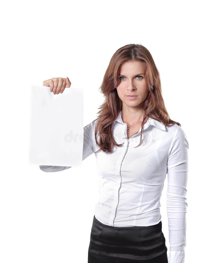 Young business woman showing blank sheet.isolated on white. Photo with copy space stock photo