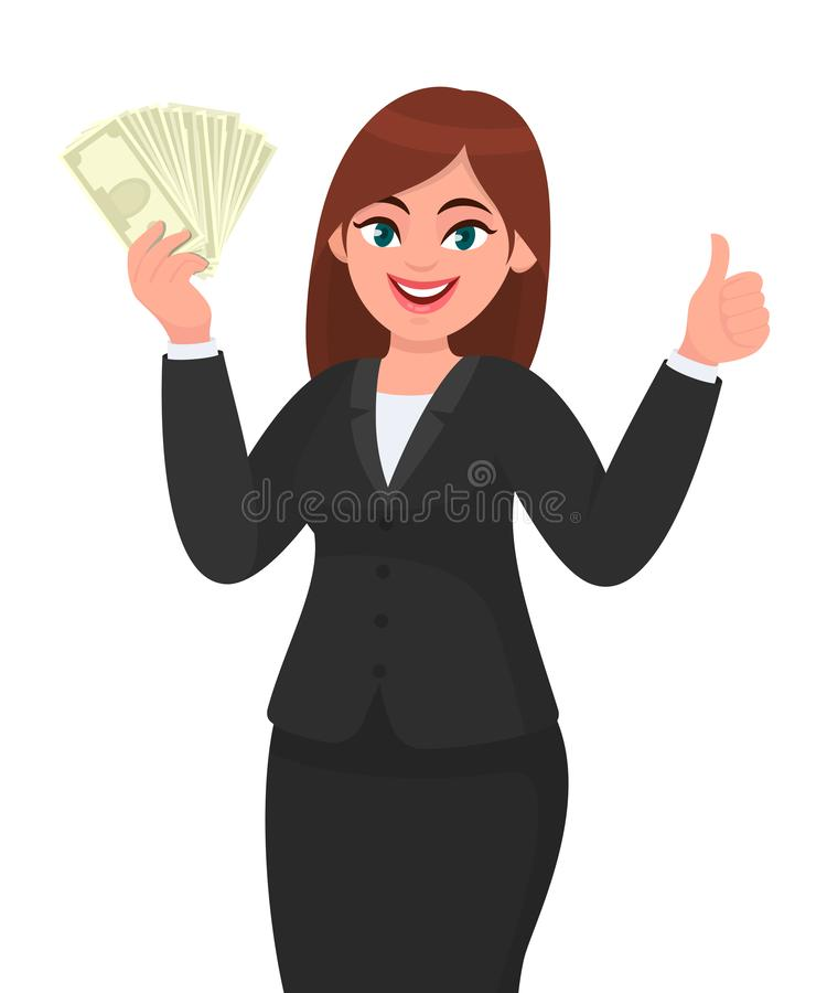 Young business woman showing/holding bunch of money, cash, dollar, currency, banknotes in hand and gesturing, making thumbs up. vector illustration