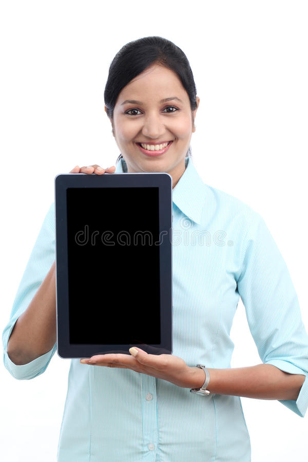 Young business woman showing tablet royalty free stock photos