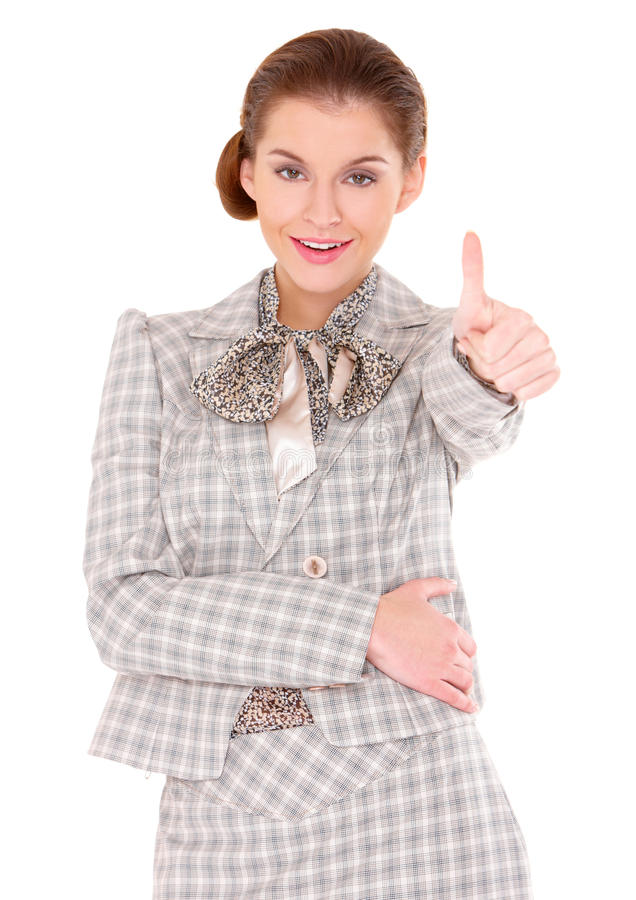 Young Business Woman Showing Thumb Up Gesture Stock Images