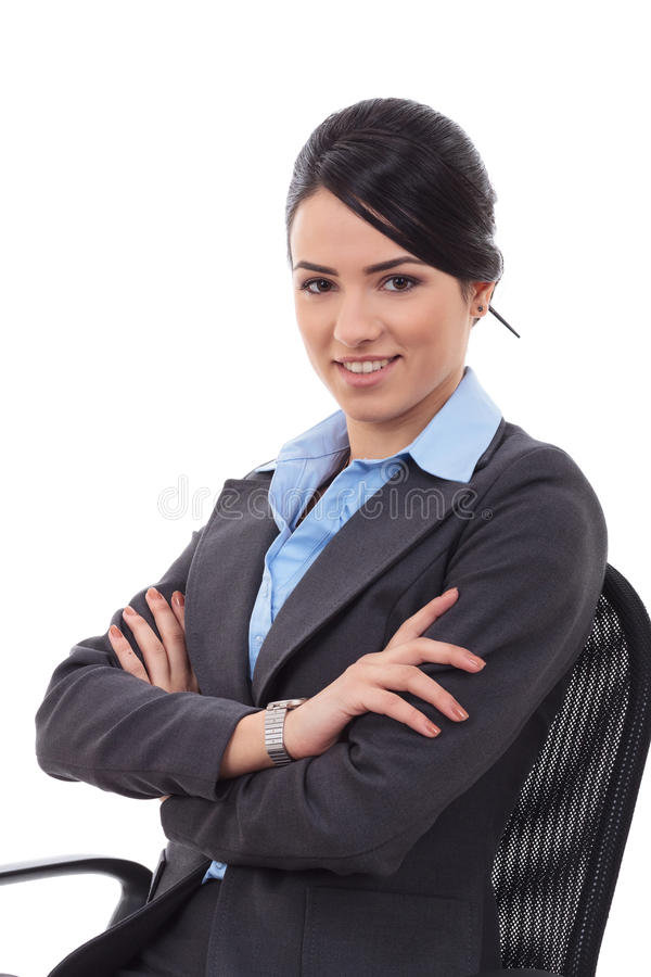 Young business woman sitting royalty free stock images