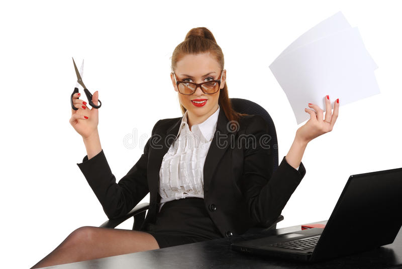 Download Young Business Woman Sitting In Office Chair Stock Photo - Image: 23331096
